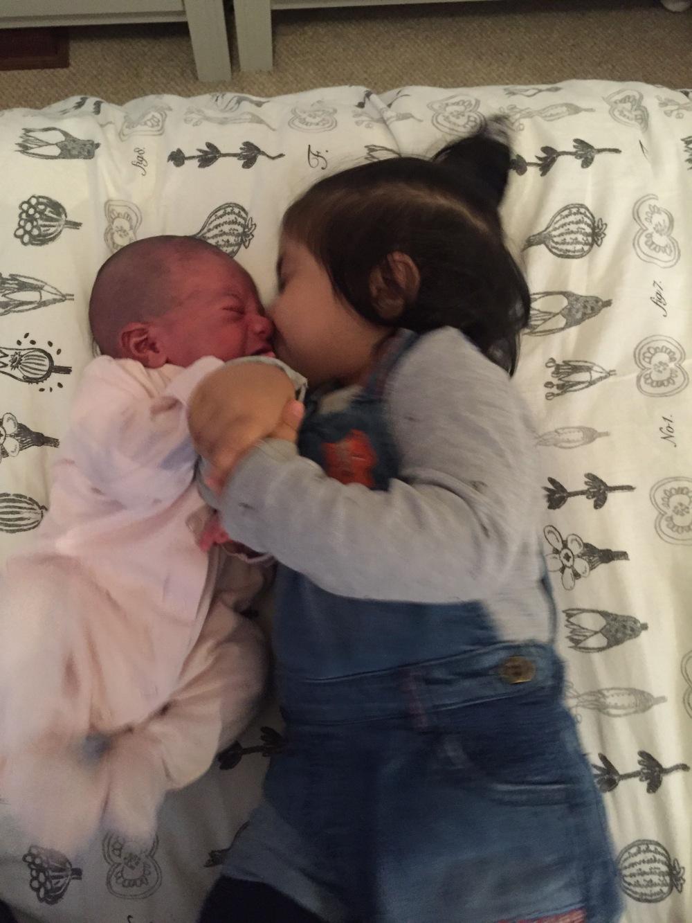 newborn baby sibling love