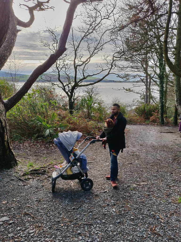 Daddy and his babies on a long coastal walk in Wales